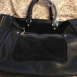 Faux leather and suede large handbag